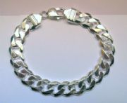 "Gents 8"" 11mm thick sterling silver curb bracelet"
